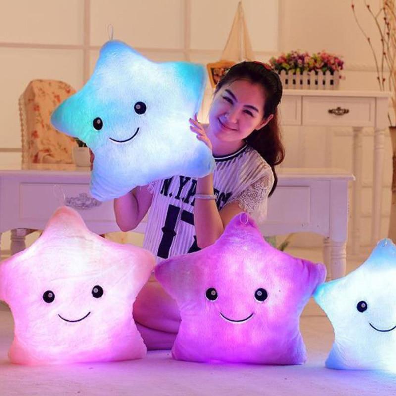 Pillow Luminous-Cushion Glowing Star Christmas-Lover Kids Plush-Doll Gift for Girl Sweet