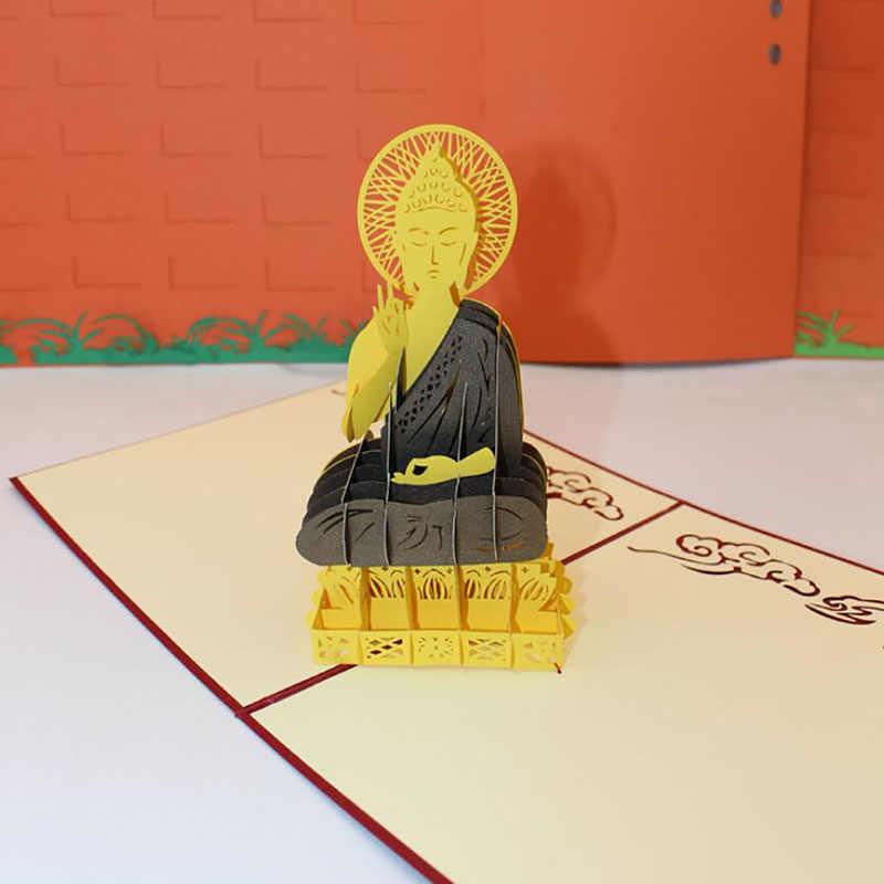3D Handgemaakte Carving Traditionele Boeddhisme Sakyamuni Papier Uitnodiging Wenskaarten Postkaart Bussiness Travel Souvenirs Gift