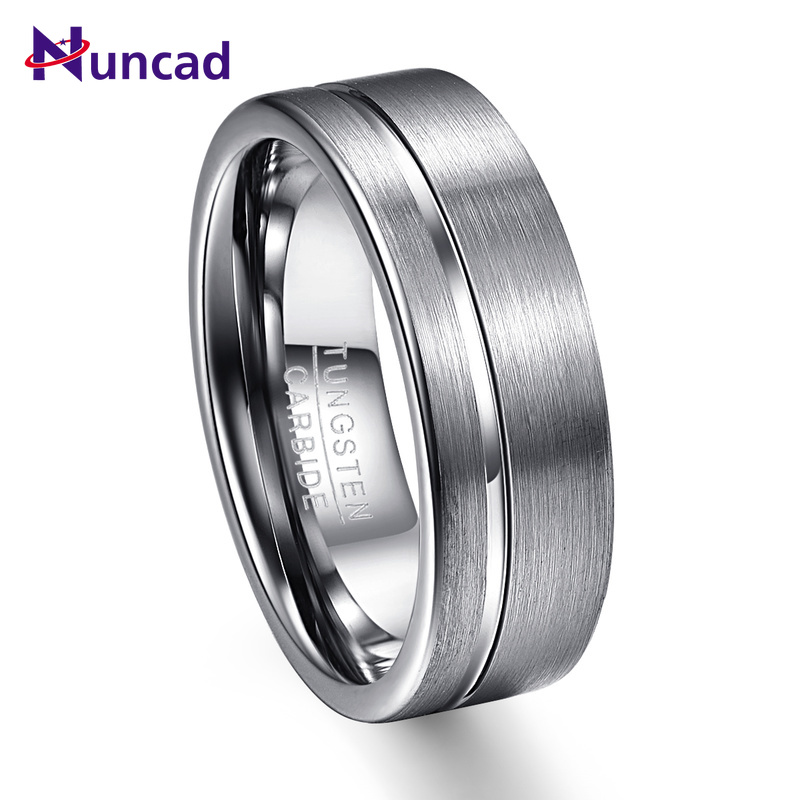 2019 grey surface polish side groove 8mm width 100% genuine wedding band elegance tungsten carbide rings for men(China)