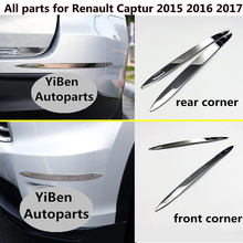 цена на Car body front+back side Bumper corner protection trim frame stick stainless steel anti-rub cover For Renault Captur 2015 2016