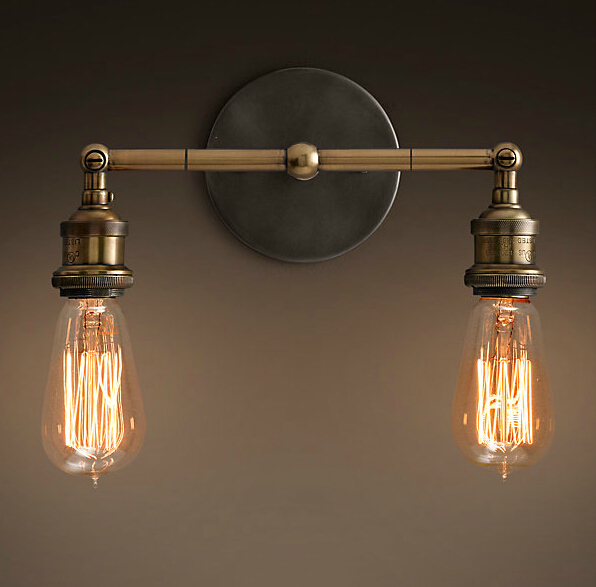 Double Heads RH Loft Ajustable Wall Sconces Lamp Minimalist Iron Bed Balcony Cafe Home Mini Decorative Wall Light FixtureDouble Heads RH Loft Ajustable Wall Sconces Lamp Minimalist Iron Bed Balcony Cafe Home Mini Decorative Wall Light Fixture