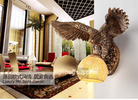China Southeast Asia Style Spread the Wings Eagle Animal Wall Lamp Luxury Lighting E27 Glass Lampshade Home Fashion WL 9
