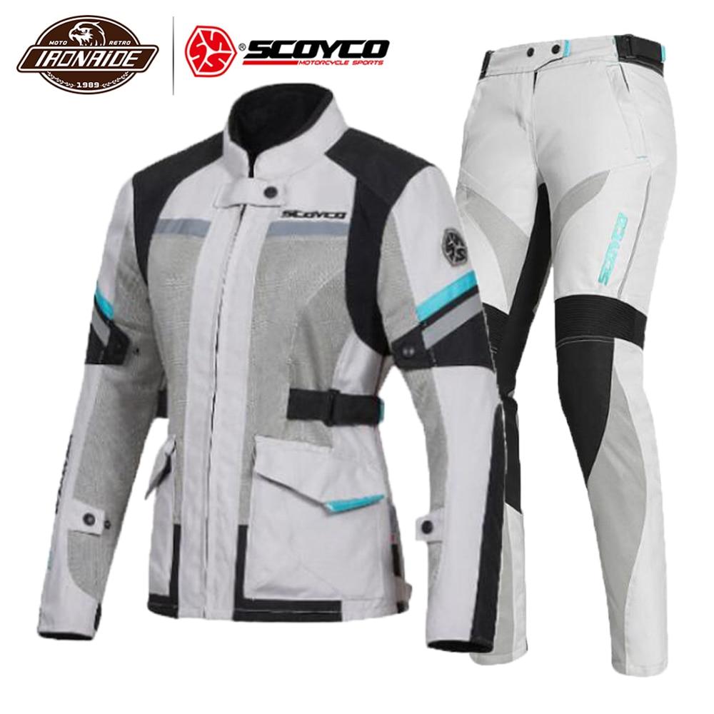 SCOYCO Women Motorcycle Jacket Summer Moto Jacket Riding jacket Night Reflection Motocross Chaqueta CE Protection Breathable