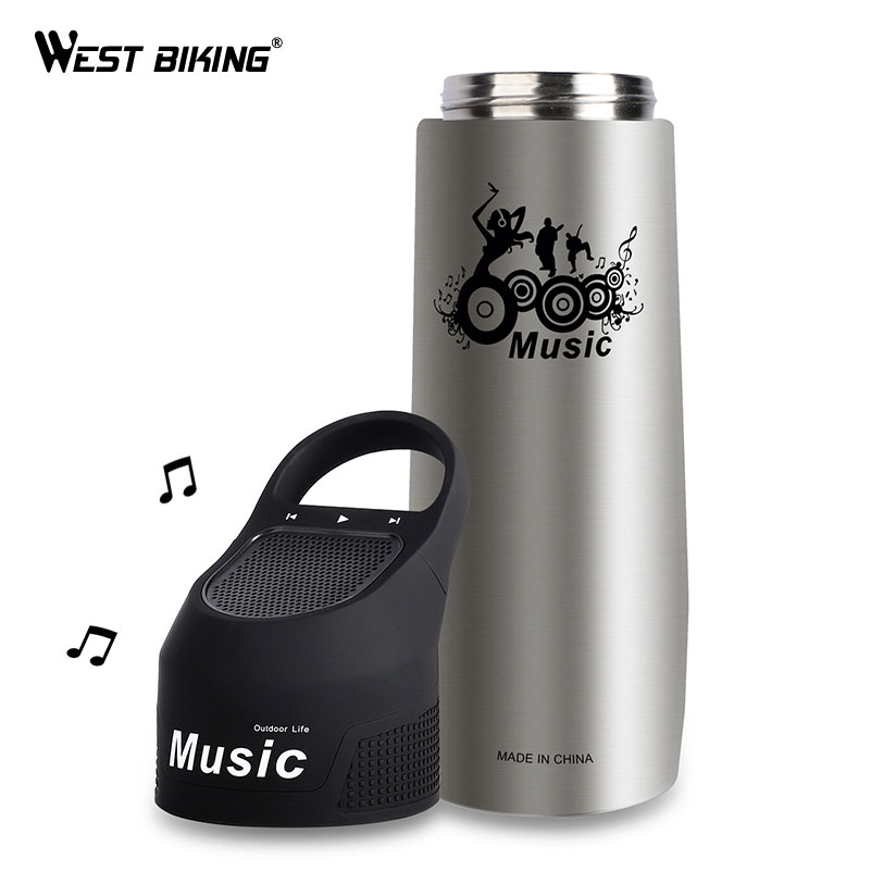 WEST BIKING Music Vacuum Cup Double Wall Stainless Steel Bicycle Bottle 750ML Bike Water Flasks Thermos Cups Sports Bottles гарнитура koss bt190iw вкладыши белый серый беспроводные bluetooth