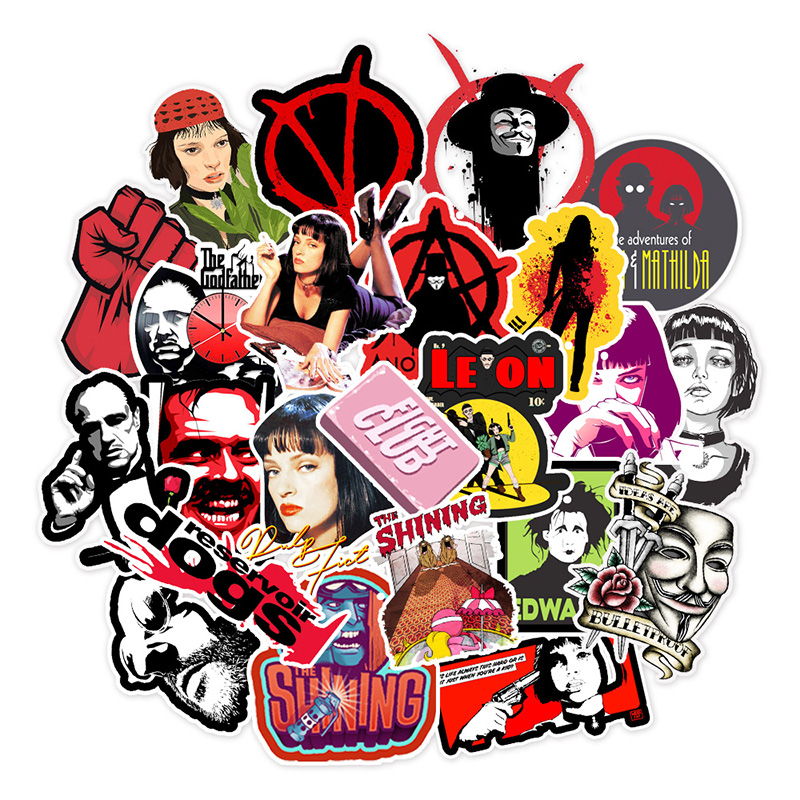 50pcs/pack Stickers Classic Movie Pulp Fiction/Edward Scissorhands/Graffiti Sticker For Skateboard Laptop Bicycle Decals