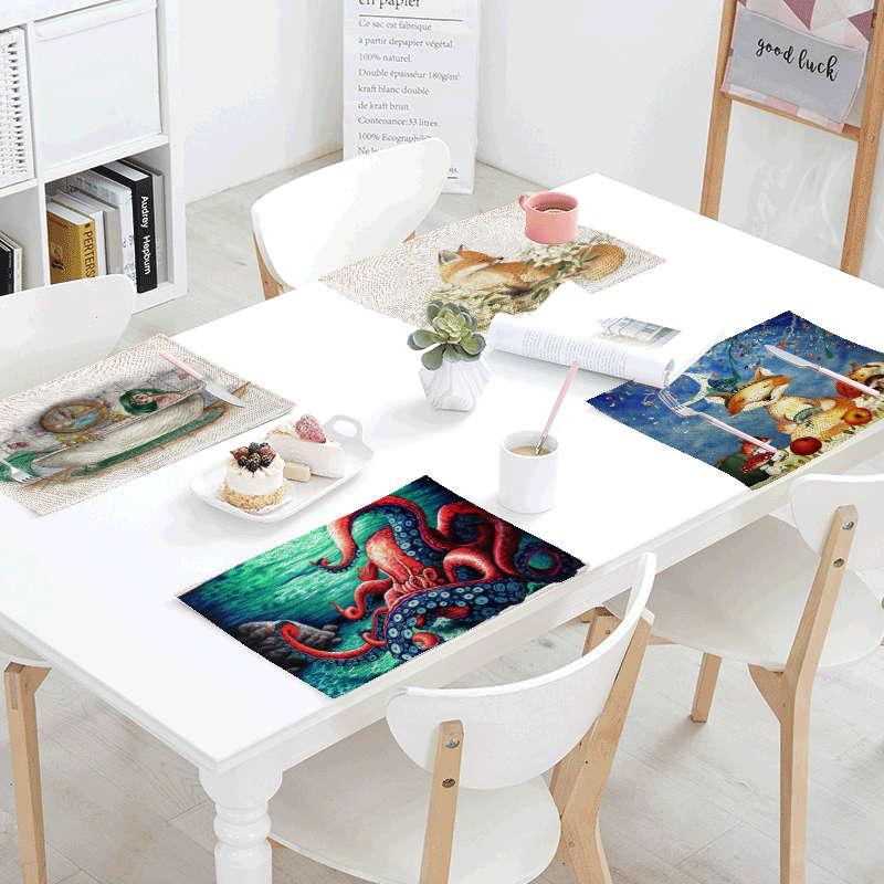 Cartoon Fox Table Cloth Wedding Restaurant Design Decoration Starry Beach Bear Flower Table Cover Linen Placemat Napkin Kitchen