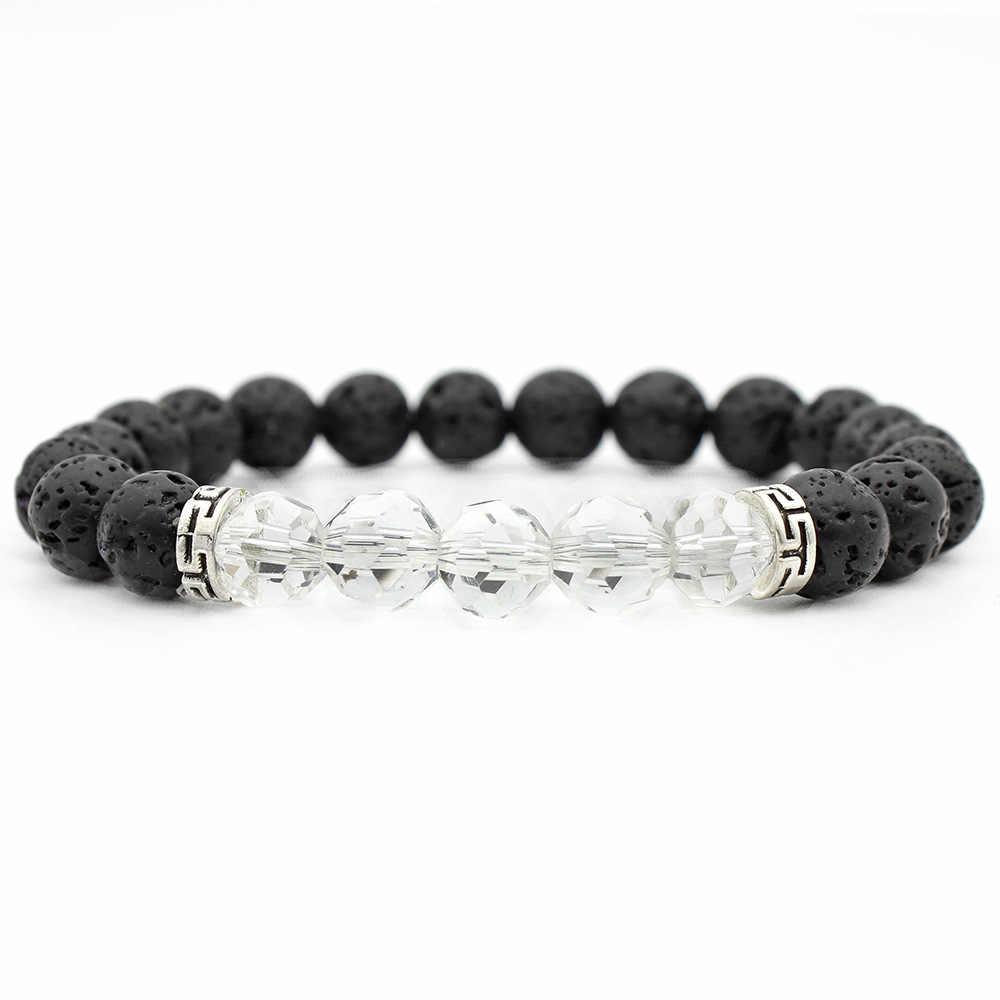 YUZHEJIE Прямая доставка Лава камень повседневное Спорт Кристалл браслет для мужчин натуральный черный Лава вулканический камень бисером браслеты женщи