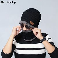 Mr Kooky High Quality Autumn Winter 2pcs Knitted Scarf Cap Neck Warmer Beanies For Women And