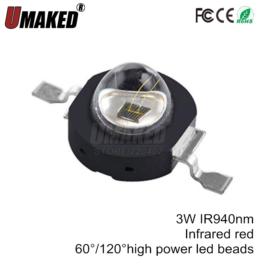 Infrared Red 940nm <font><b>3W</b></font> High Power <font><b>LED</b></font> Chip IR 940nm 60 degree or 120 degree <font><b>LED</b></font> Beads for Night Camera image
