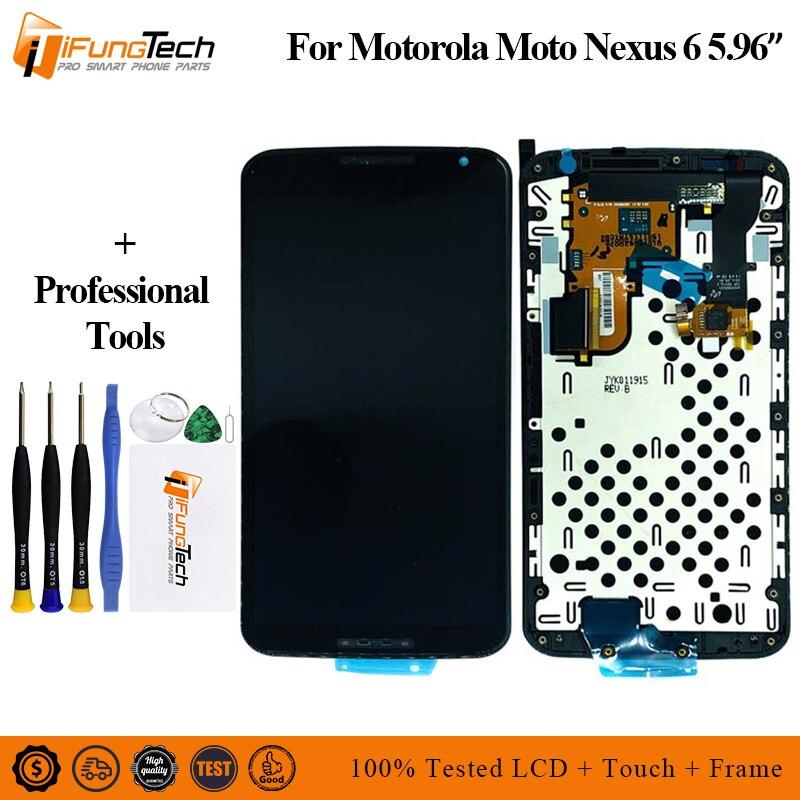 LCD pour Motorola Nexus 6 XT1100 XT1103 LCD écran tactile numériseur assemblée avec cadre 100% testé pour Moto Nexus 6 LCD