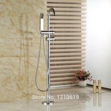 Newly Chrome Polished Bath Tub Faucet Dual Handles Floor Type Bathtub Mixer Faucet Tap w/ Handheld Shower