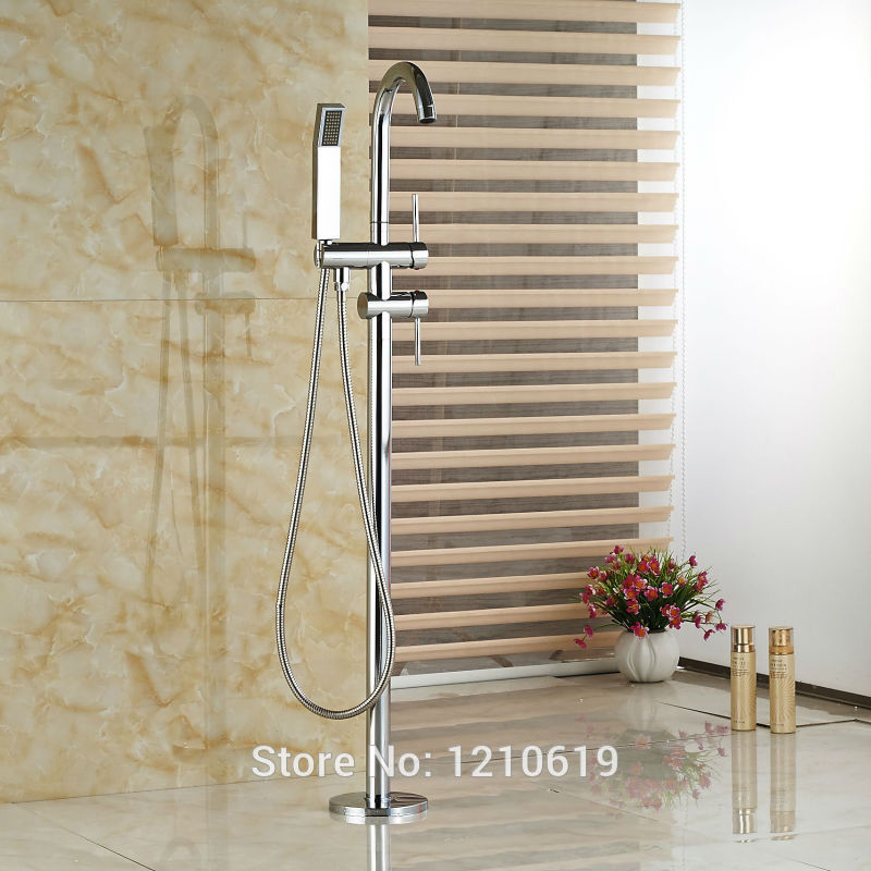 Newly Free Standing Chrome Polished Bath Tub Faucet Dual Handles Floor Type Bathtub Mixer Faucet Tap With Handheld Shower kemaidi floor standing bathtub faucets brass chrome free standing bath shower mixer set bath tub faucet with handshower