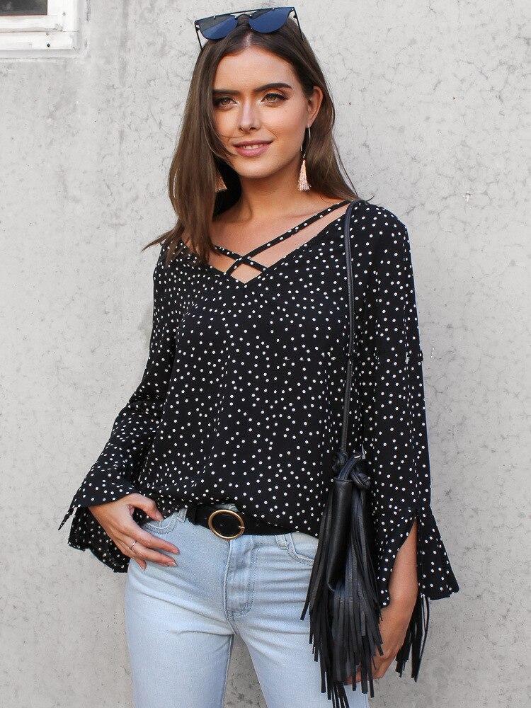 flare sleeve female blouse hot sale korean autumn and spring chiffon elegant polka dot woman skirt office lady v-neck