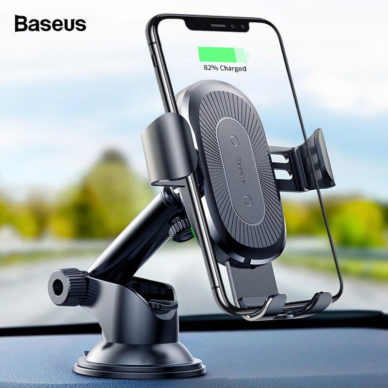 Baseus inalámbrico cargador de coche para iPhone Xs Max Xr 8X8 Samsung Nota 9 Qi inalámbrico cargador rápido inalámbrico de carga sostenedor del teléfono del coche