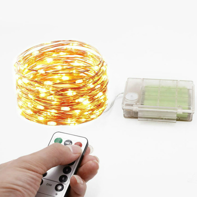 Remote Control 10M Battery Copper Wire LED String Lights 100 LED Starry Rope Waterproof Lights Home Garden Christmas IY310115-R