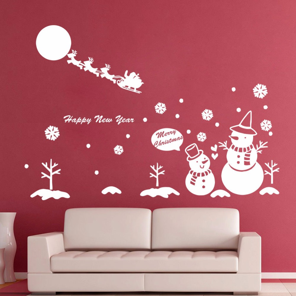 Snowman Christmas Tree Vinyl Wall Decals Snowflake Art Wall Sticker Shop Glass Window Christmas Home Decor Happy New Year