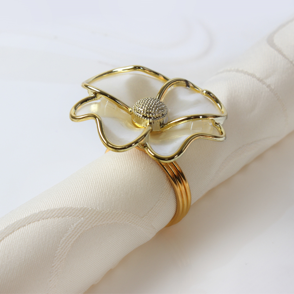 10pcs Fashion Napkin Ring White Flowers Napkin Ring Hotel Beautiful Napkin Buckle Wedding Tabletop Decorations Napkin Ring