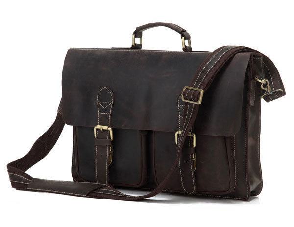 Best Selling Rare 100% Genuine Crazy Horse Leather Briefcase Laptop Messenger Bag For Men #7105R