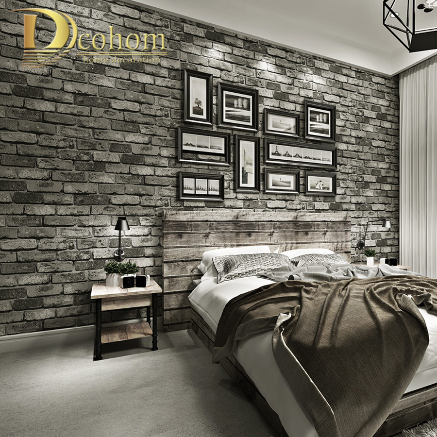 Papel pintado con textura de ladrillo Vintage moderno para decoración de paredes papel tapiz en relieve 3D rollos de papel para dormitorio Sala sofá TV fondo