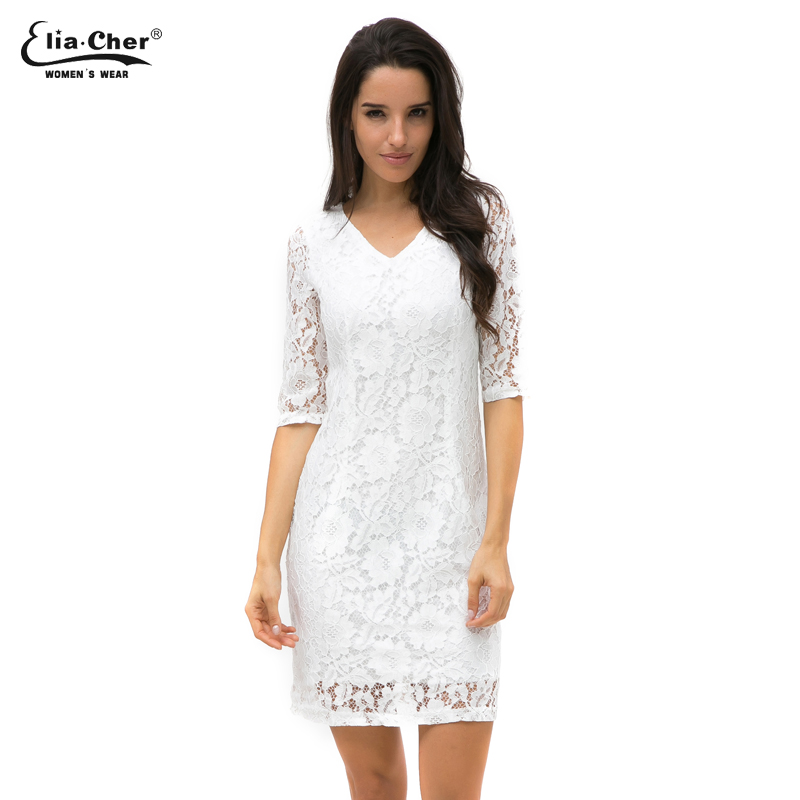 Women White Lace Sexy Bodycon V Neck Long Sleeve Dresses -3819