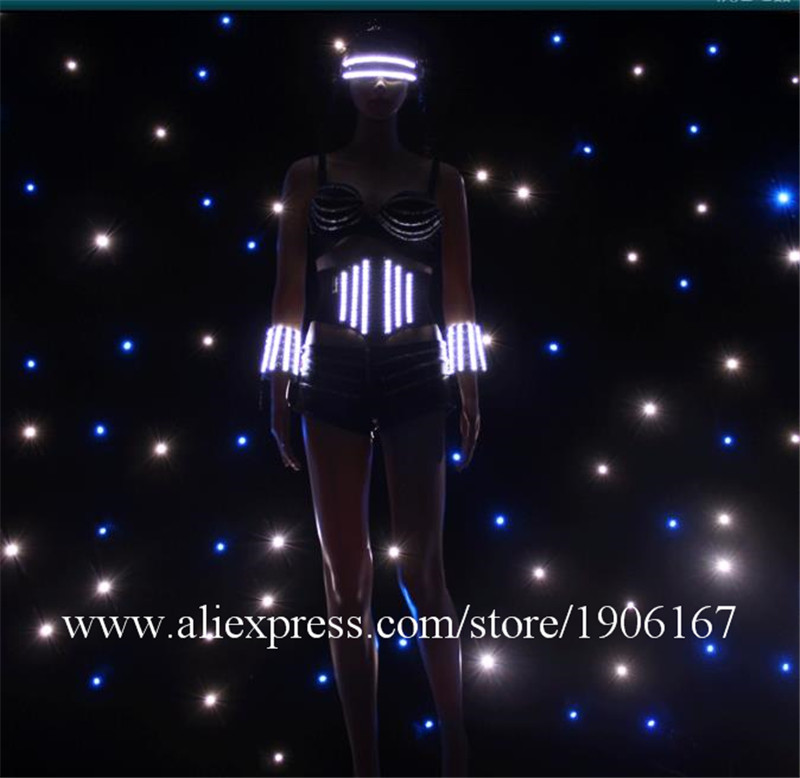 Hot Sale Led Luminous Glasses Ballroom Sexy Women Event Party Dress Performance Flashing ...