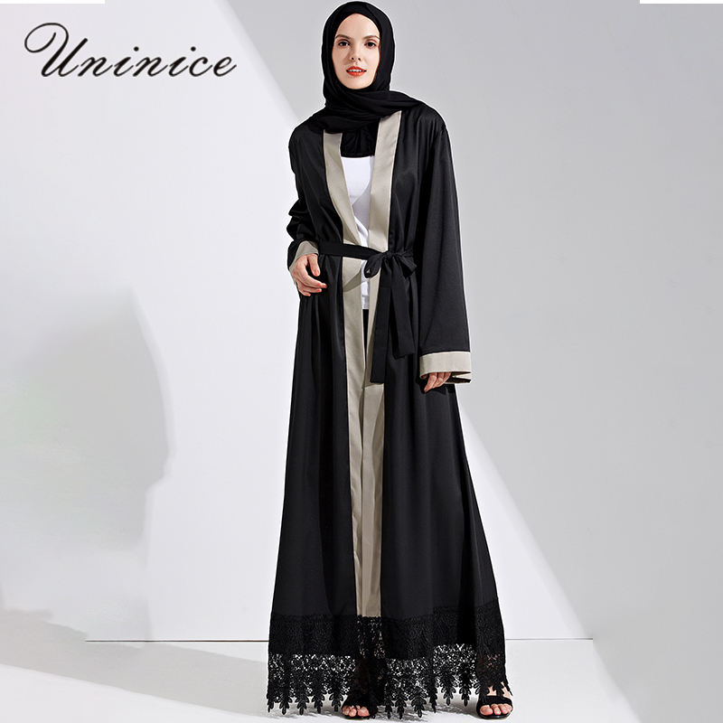 Fashion Muslim Maxi Dress Open Abaya Lace Cardigan Jilbab Long ...