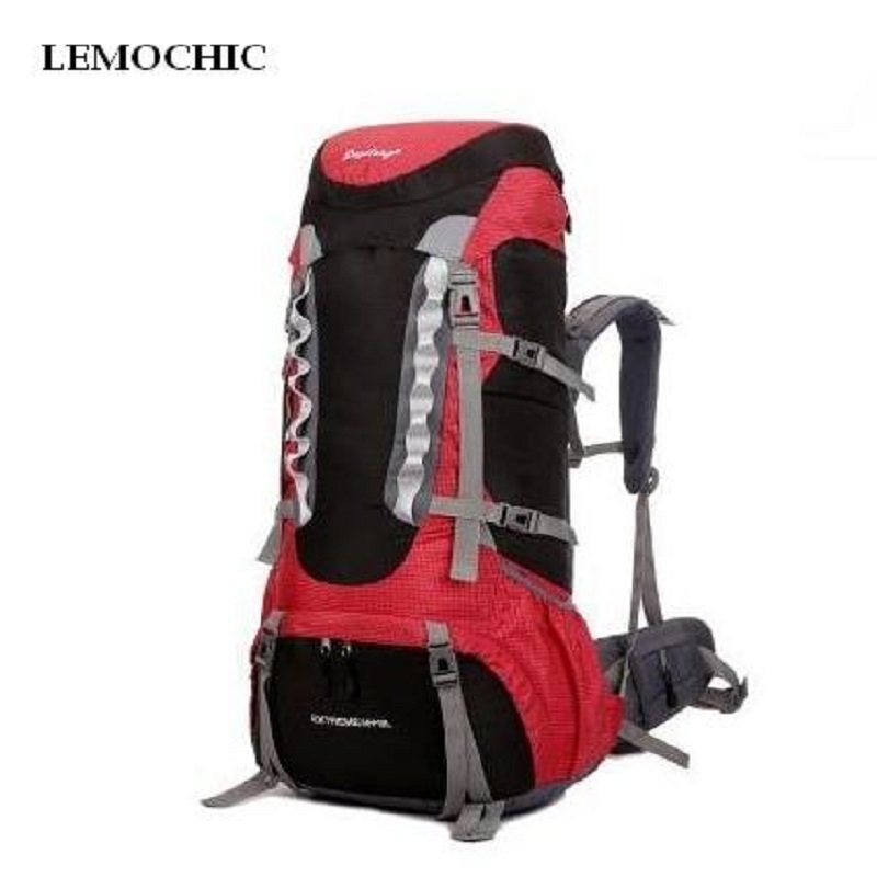 LEMOCHIC waterproof Outdoor mountaineering fishing Climbing sports bag 60L large capacity travel camping hiking canvas backpack