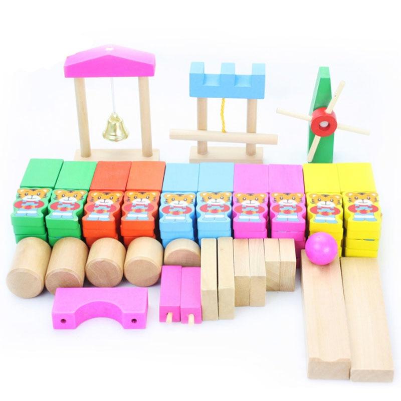 120 pièces/ensemble En Bois animal organes domino Coloré bébé en bois blocs de construction pour enfants Montessori jouet Éducatif