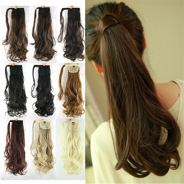 10 Colors Available 60cm Long Curly Hair Extension Clip In Natural