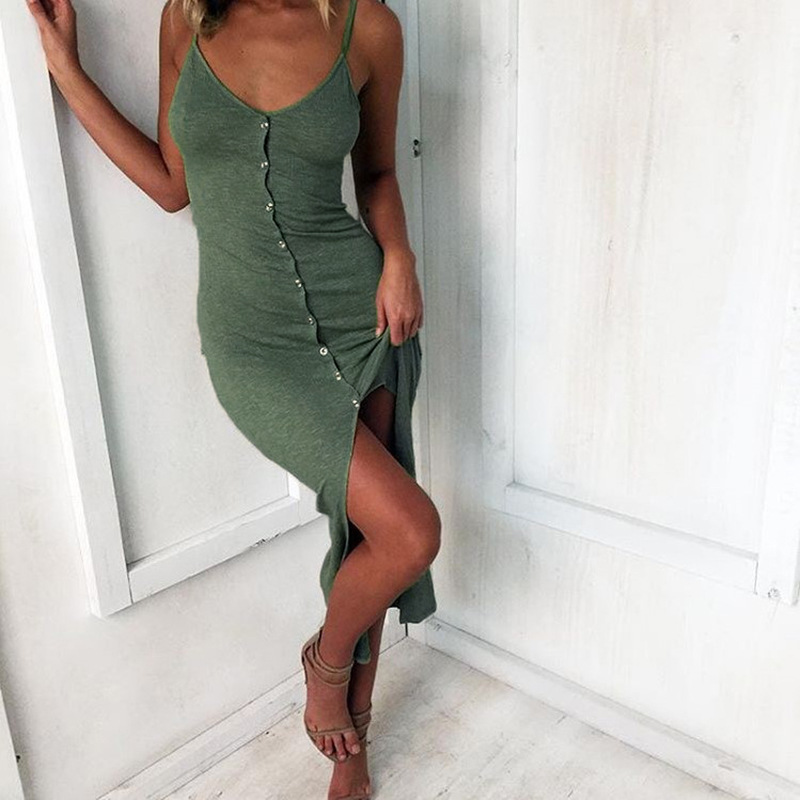 SHIBEVER New Button Mid-Calf Sexy club Party Dresses Front split Spaghetti  Strap bodycon women summer dress female NLD759 34b0983ef0f8