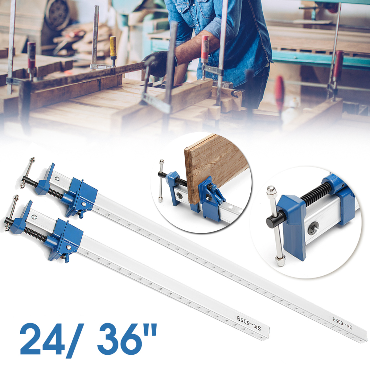 4Pcs 24/36inch Clamp T Bar Wood Clamps For Woodworking F Clamp Cramp Clip Grip Quick Release Wood Holder Hand DIY Tools