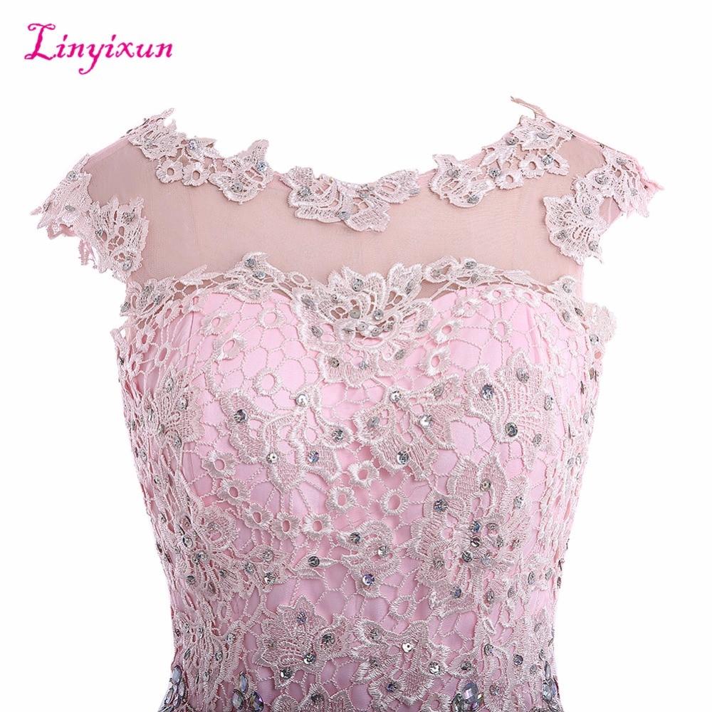 Linyixun Real Photo Exquisite Cocktail Dresses Lace vestido de festa Scalloped Neck Cap Sleeves Chiffon Short Homecoming Gowns