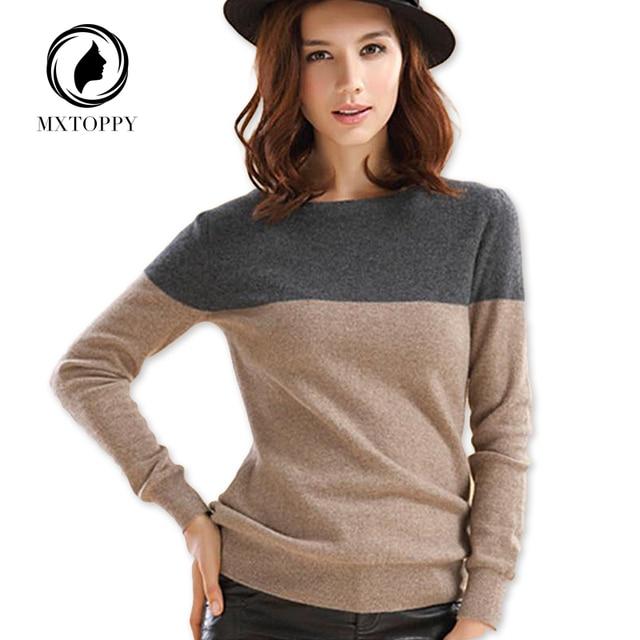 2017 осень-зима кашемировый свитер Для женщин Лоскутная Пуловеры для женщин круглым вырезом мягкий теплый кашемировый пуловер Женская мода