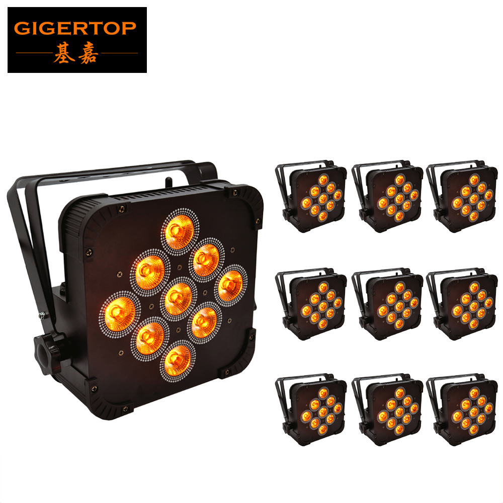 Free Shipping 10Xlot 9 X 15W RGBWA 5 In 1 Wireless DMX512 Slim Led Par Cans Black DMX Operated Par Style LED Stage Washer