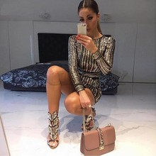 Try Everything 2019 GoCUERLY Sequin Dress Long Sleeve Sexy Dresses Women Tight Evening Party Nightclub