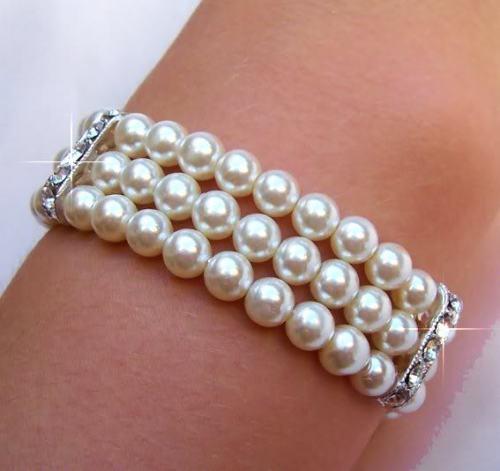 FREIES VERSCHIFFEN HEIßER verkauf neue Stil>>>> schöne 3row 8 9 MM weiß AAA + natürliche perle armband 7,5''