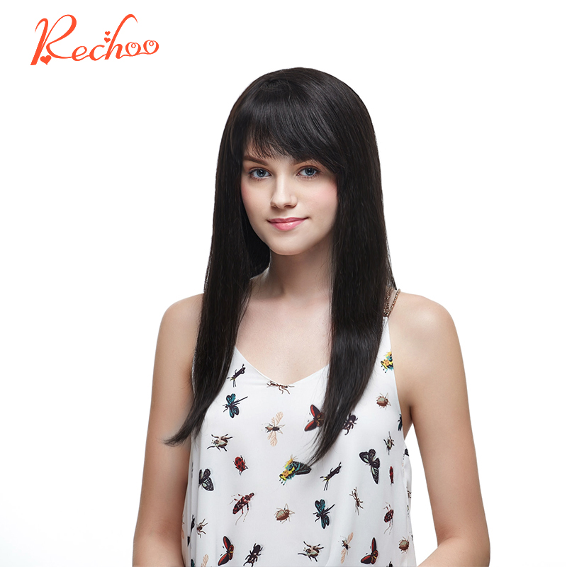 New Rechoo Non Remy Clip In Human Hair Extension 10pcsset Full Head