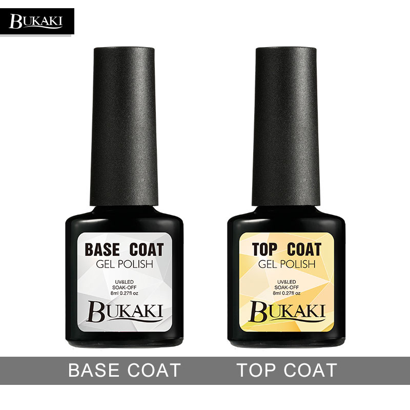 BUKAKI Long Lasting No Clean Top Coat Base Coat UV Gel Nail Polish ...