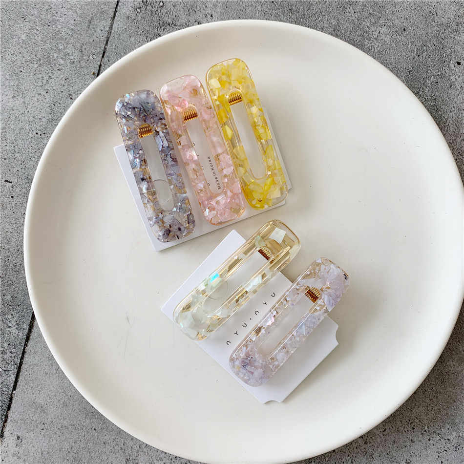 New Women Hairpins Shell Acrylic Hollow Rectangle Water Drop Hair Clips Geometric Tin Foil Sequins Hair Pins Jewelry Barrettes