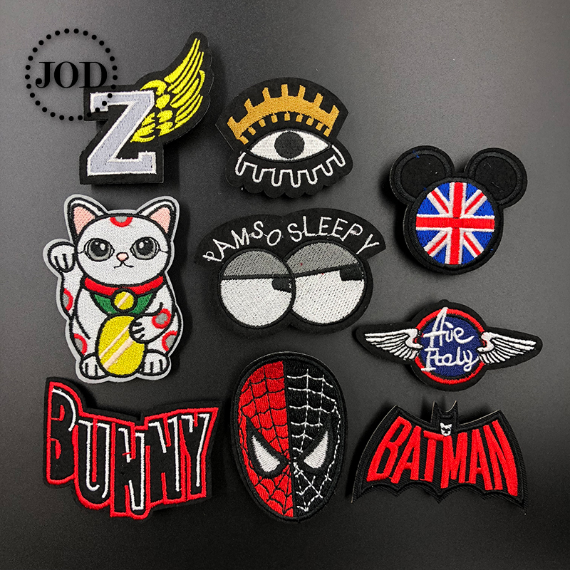 JOD* Brand Cartoon Embroidered Iron on Patches for Clothing DIY Decoration Clothes Patch Applique Stickers Fabric Badges Spider
