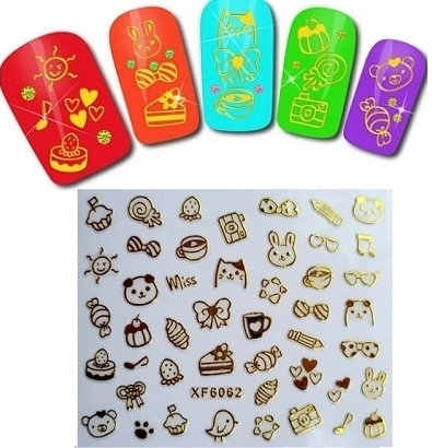 1pc Nail art 3D gold foil sticker cute cartoon short bride patch green applique Nail Polish stickers wholesale diy nail art tool
