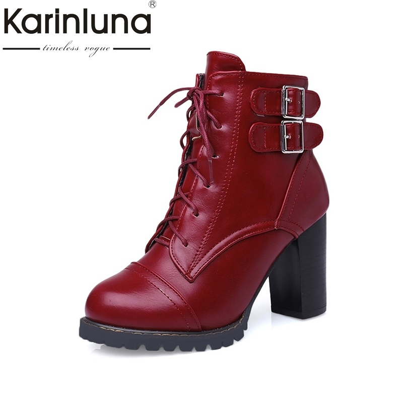 Plus Size 33-47 Women Knight Boots Buckle Straps Lace Up Chunky Heels Female Mid-calf Winter Boots Hot Sale Neutral Fur Shoes double buckle cross straps mid calf boots
