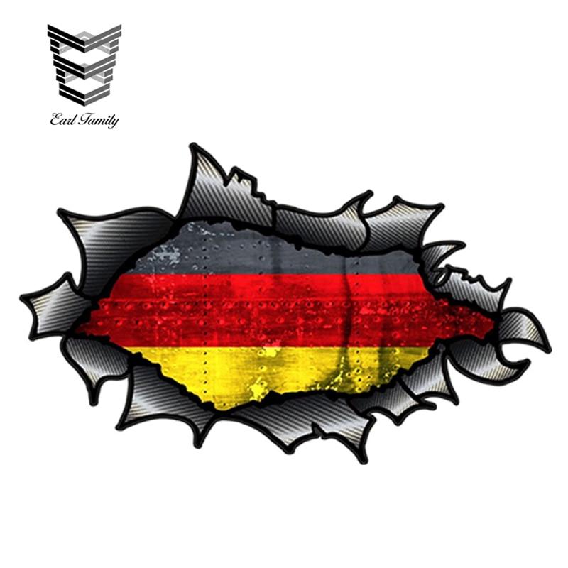 EARLFAMILY 15 см x 9 см рваные углеродное волокно из углеродного волокна с Флаг Германии мотив Виниловая пленка для оклеивания автомобилей, Стикер...