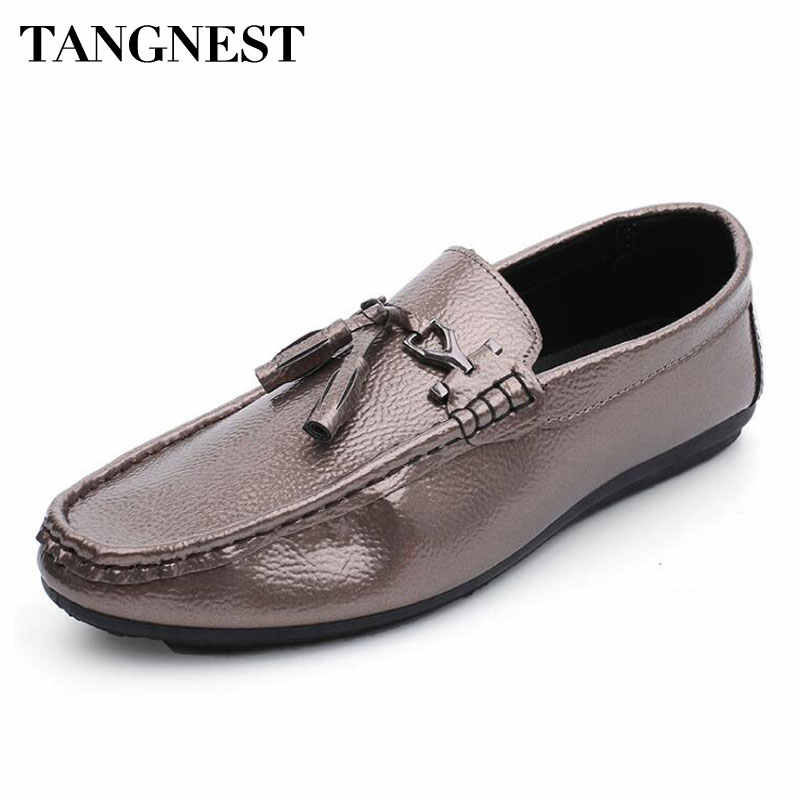 950299fea5 Tangesnt Fashion Tassel Men s PU Leather Loafers Casual Patent Leather  Comfortable Flats Men Metal Decoration Moccasins