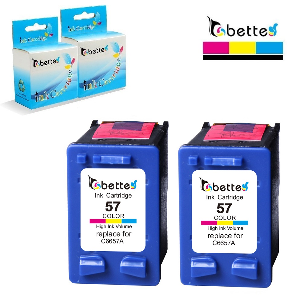 2PK, BETTE blekkpatronerstatning for HP 57 hp57 Photosmart 7755 7760 7760v 7762 7762w 7765 7960 Officejet J5500 J5508 J5520