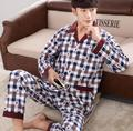 Fashion mens pajamas high quality cotton pyjamas men lapel pajamas men plaid male sleepwear casual sleep tops men pajama sets