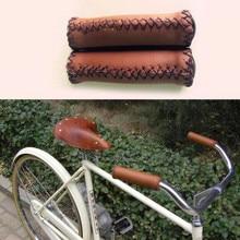 E0979 Retro bicicleta manga de mango de imitación de cuero hecho a mano accesorios de bicicleta al por mayor