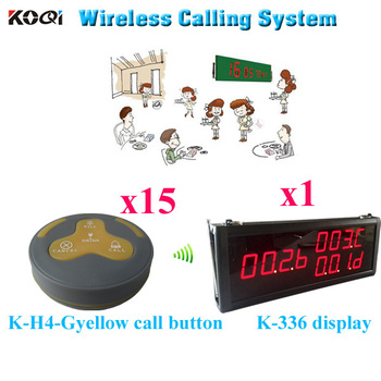 Wireless Guest Calling System For Restaurant Service Led Receiver And Bell Buzzer 433.92mhz(1 display 15 call button)
