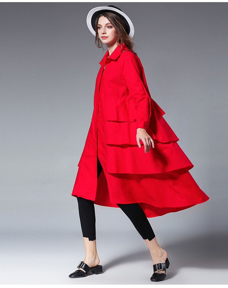 Large Size Dress 2019 New Ruffled Cotton Spring Dress Temperament Fashion Long Dress Loose Long Dress Ladies Windbreaker in Hoodies amp Sweatshirts from Women 39 s Clothing