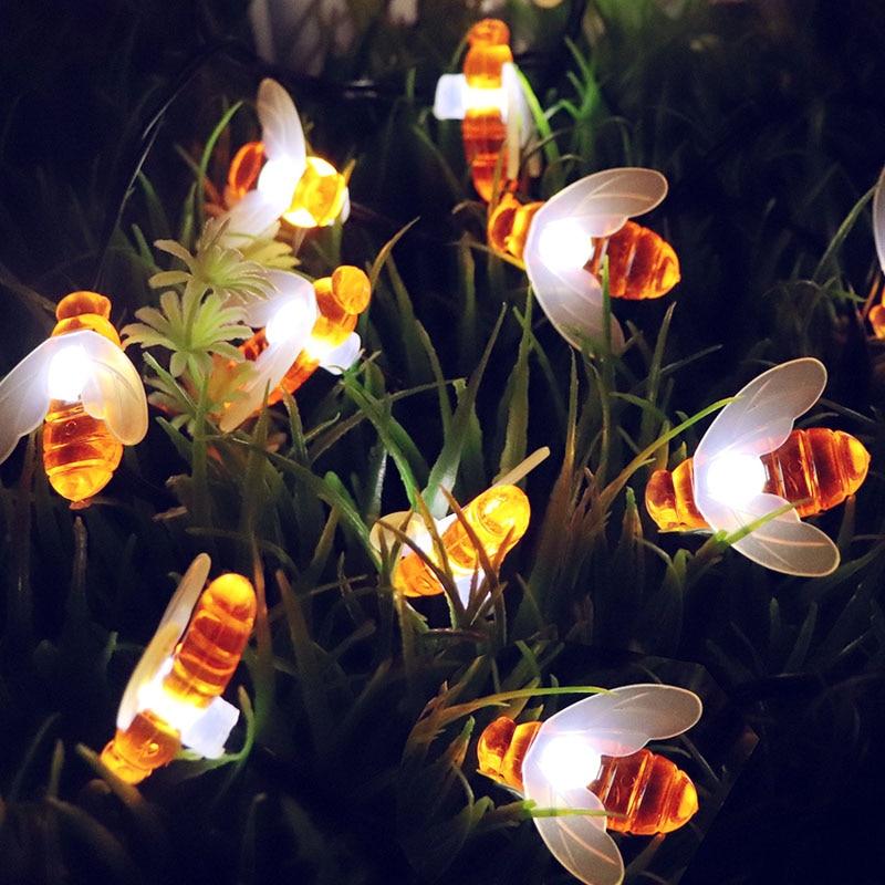 30 LED Waterproof String Lights Honey Bee Outdoor Solar Powered Lamp Shape Garden Yard Decoration Chrismas Fairy Light